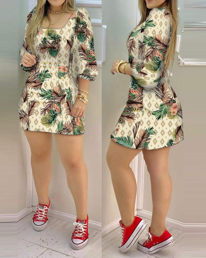 Geo Pattern Tropical Print Lantern Sleeve Dress
