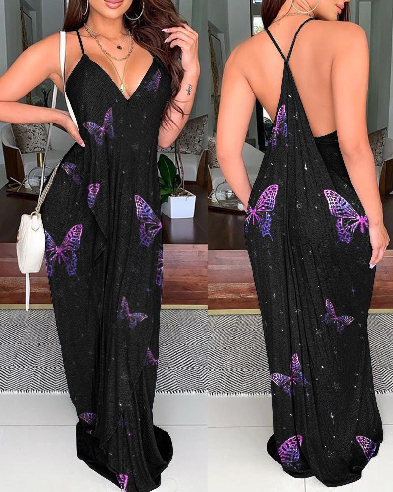 Butterfly Print Backless Sleeveless Maxi Dress