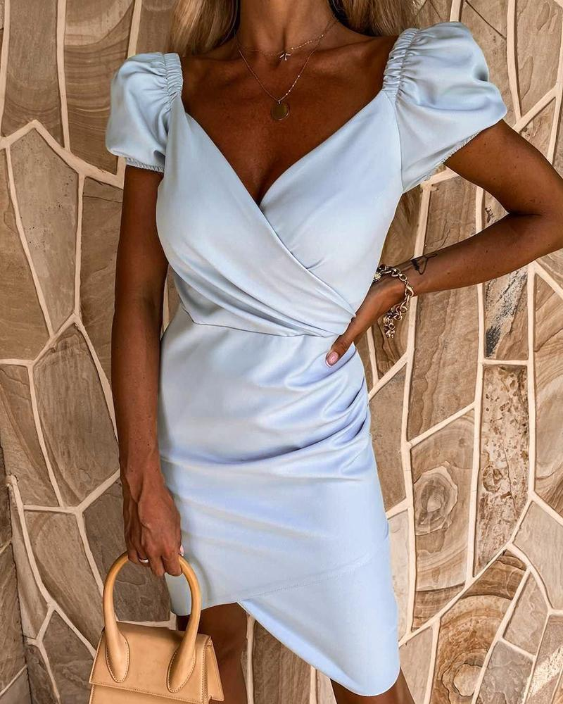 Puff Sleeve Zip Back Ruched Wrap Dress