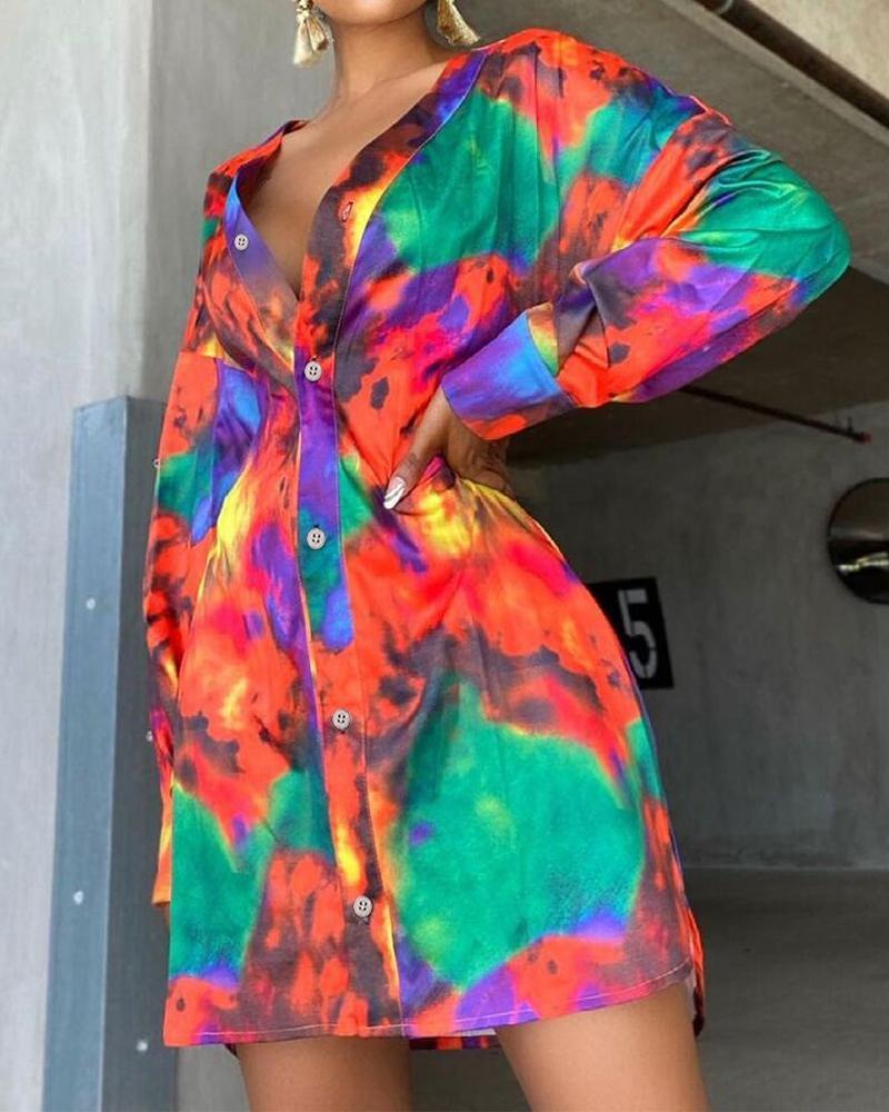Tie Dye Long Sleeve Button Front Shirt Dress