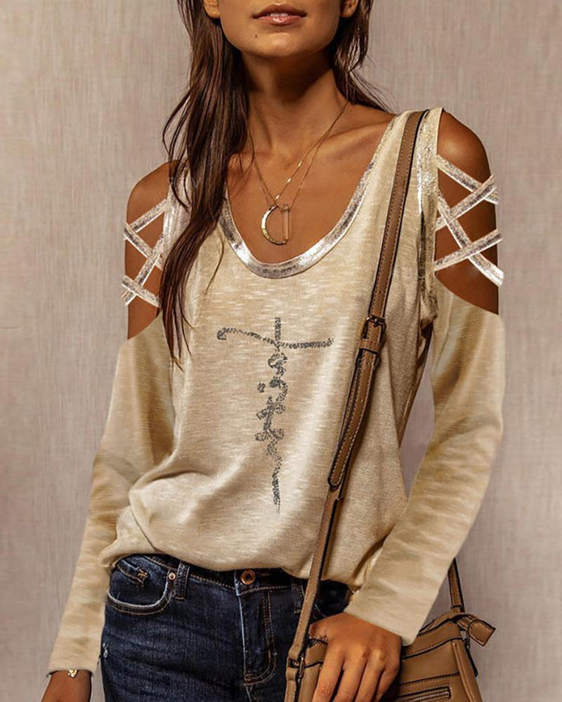 Letter Pattern Print Lace-up Top