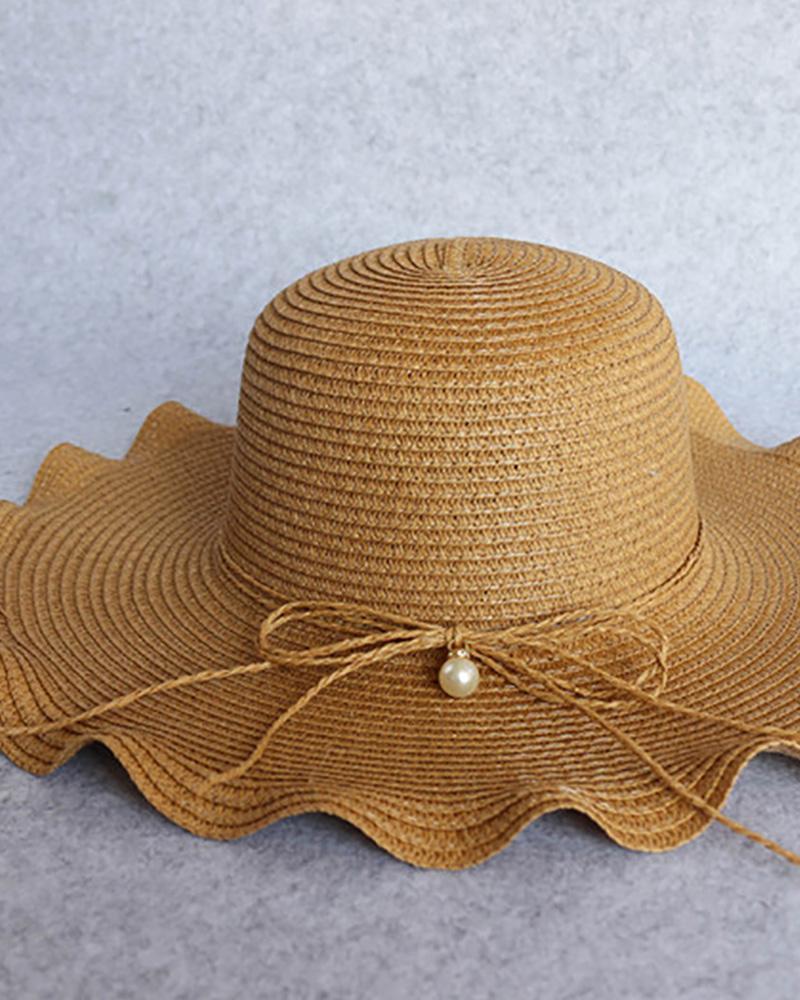 Ruffles Wide Brim Beaded Decor Straw Hat