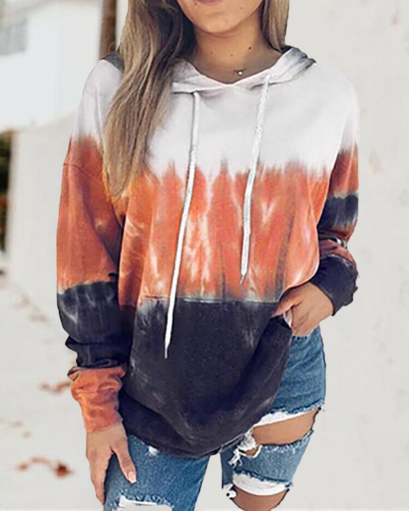 Colorblock Print Pocket Design Hooded Sweatshirt