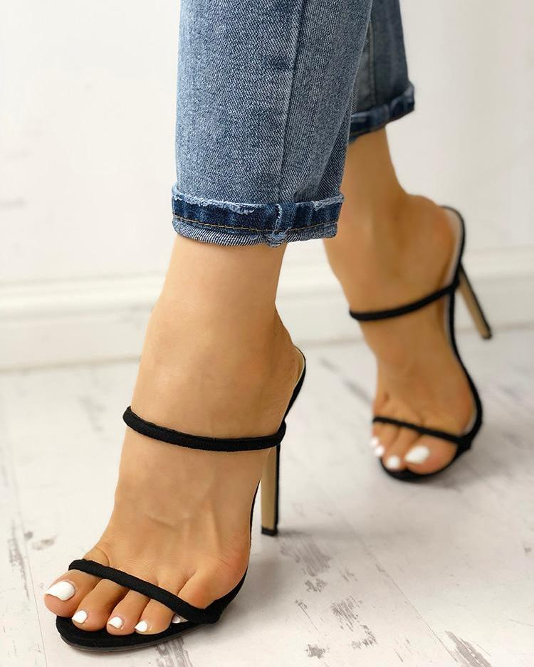 Concise Double Strap Thin Heeled Sandals thumbnail