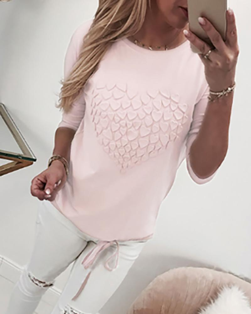 Heart Pattern Drawstring Long Sleeve Sweatshirt