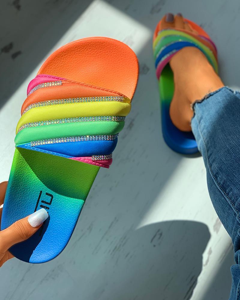 Rainbow Stripe Rhinestone Slippers, Multicolor