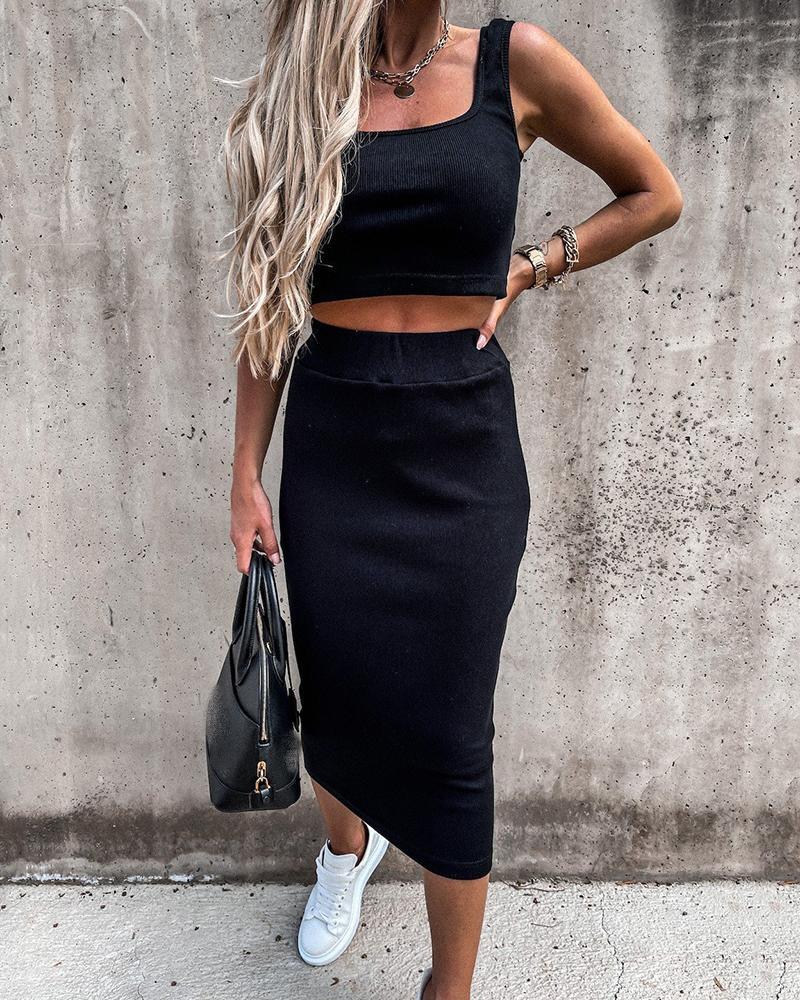 Square Neck Crop Top & Skinny Skirt Set