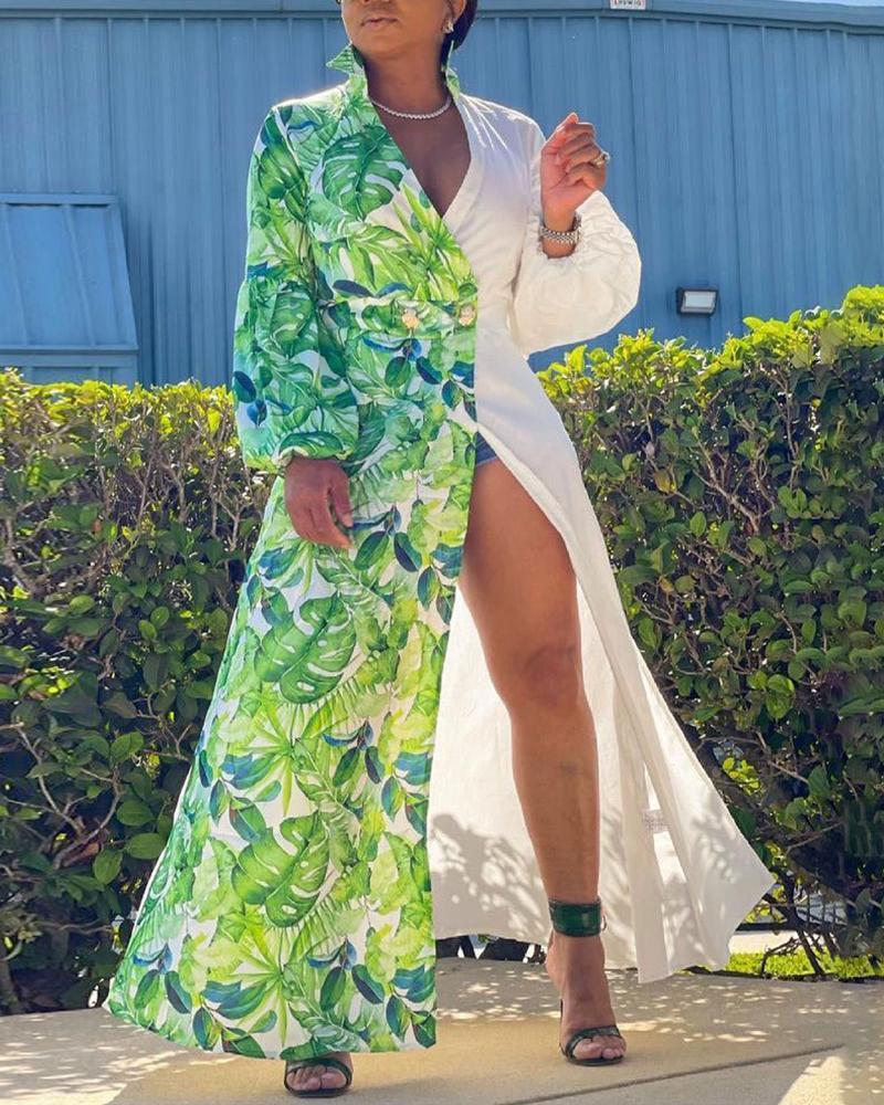Colorblock Tropical Print Lantern Sleeve Longline Coat, Green