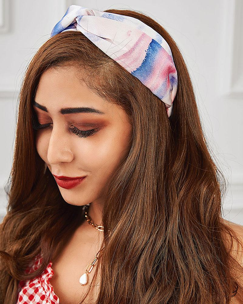 Elastic Colorblock Wide Headwrap Knotted Soft Twisted Headband