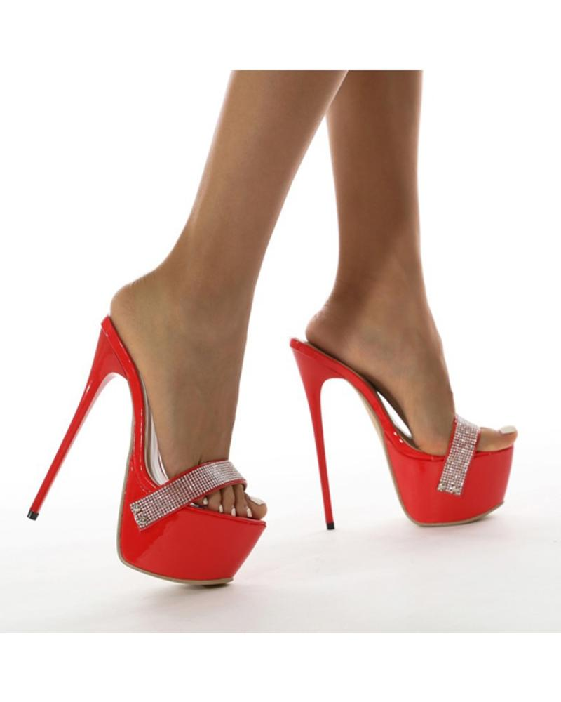 Round Toe Open-toed Water Bricks One Strap High Heel Sandals, Red