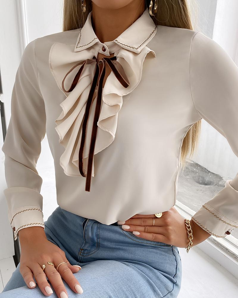 Cutout Front Ruffle Hem Long Sleeve Shirt, Apricot
