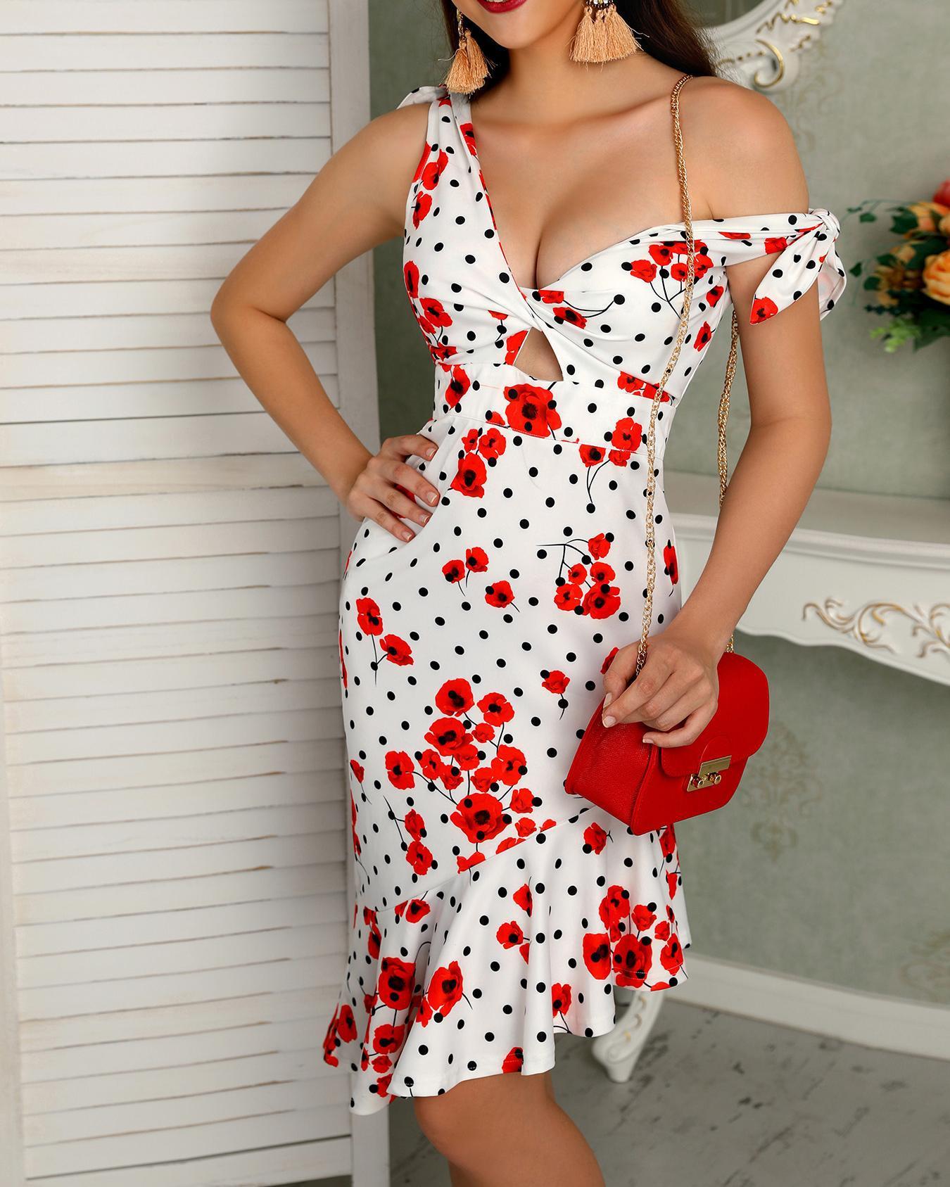 Tie Strap Twist Front Ruffle Hem Floral Dress