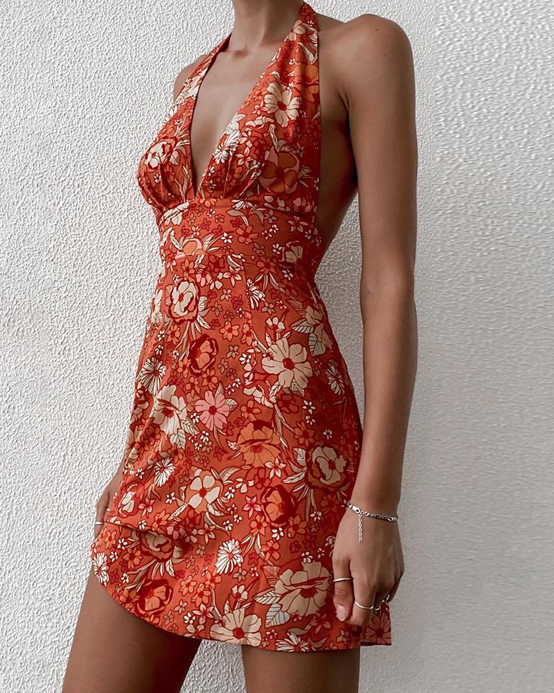 Mini-robe dos nu dos nu à imprimé floral