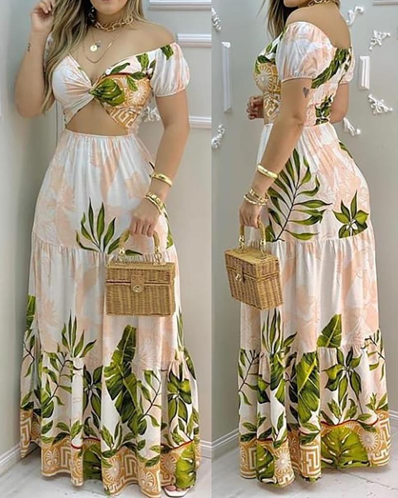 Tropical Print Hollow-out Design Off Shoulder V Neck Maxi Dress
