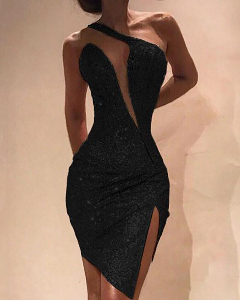One Shoulder Cut Out Slit Bodycon Sequin Dress