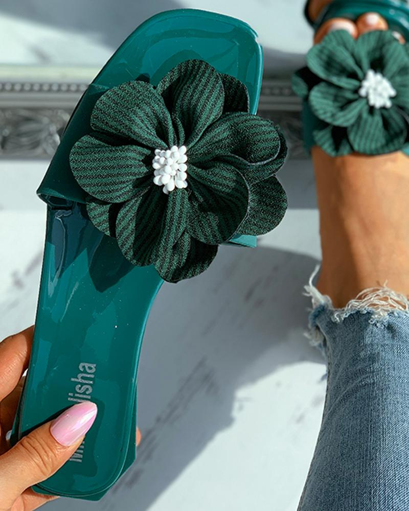 Striped Floral Pattern Square Toe Flat Sandals, ivrose, green  - buy with discount