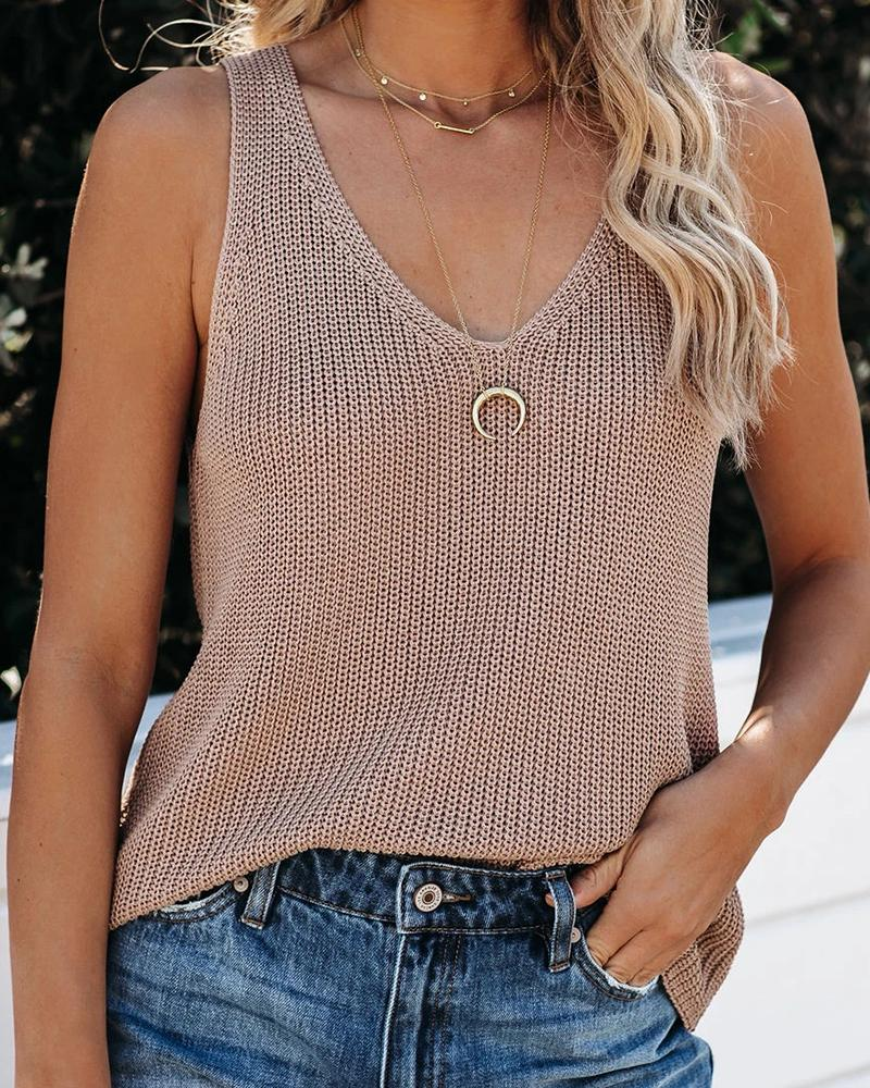 V-neck Solid Thick Strap Top