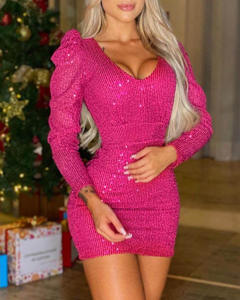 Puff Sleeve V Neck Skinny Sequin Dress Party Dress Mini Bodycon Dress