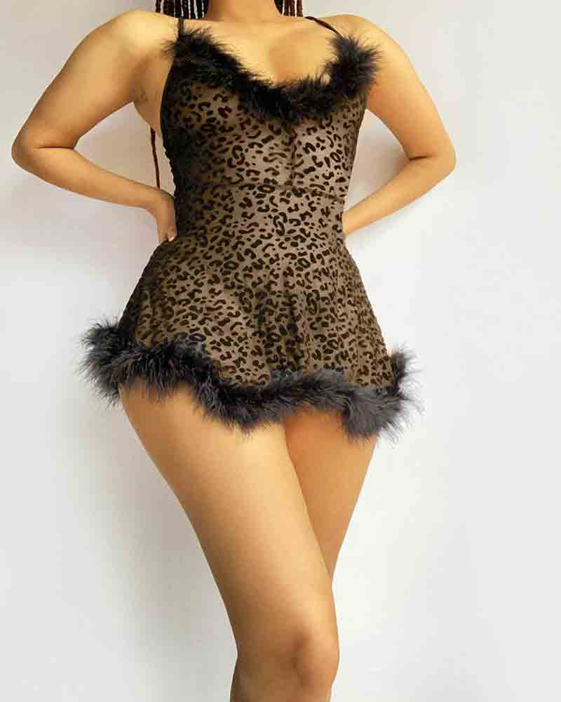 Leopard Print Fuzzy Trim See Through Mesh Slips With Thong