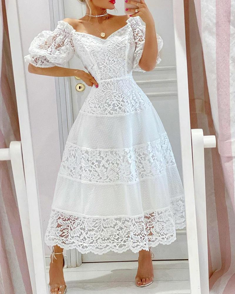 V-Neck Scallop Trim Contrast Lace Flare Dress