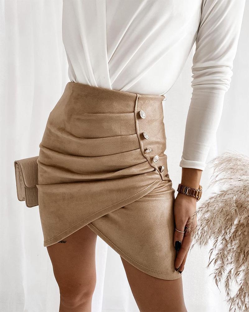 Asymmetrical Fold Pleated Button Decor Suede Skirt