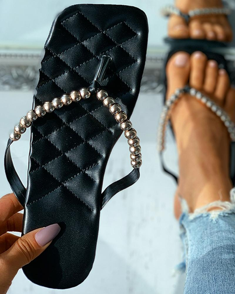 Quilted Beaded Decor Toe Post Flat Sandals thumbnail
