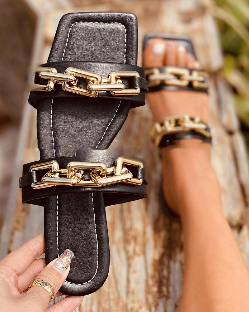 Metallic Chain Patch Open-toe Flat Sandals