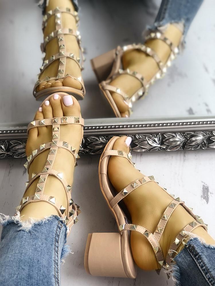 Joyshoetique coupon: Fashion Studded Chunky Heeled Sandals