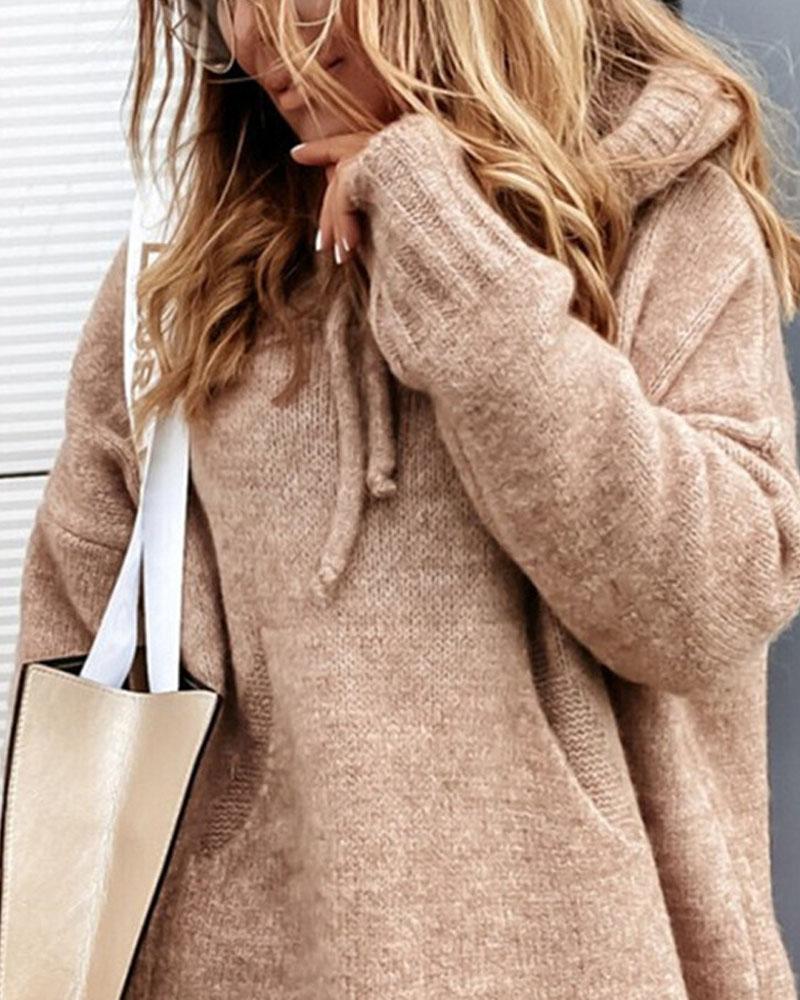 Pull à capuche avec cordon de serrage et poche à manches longues