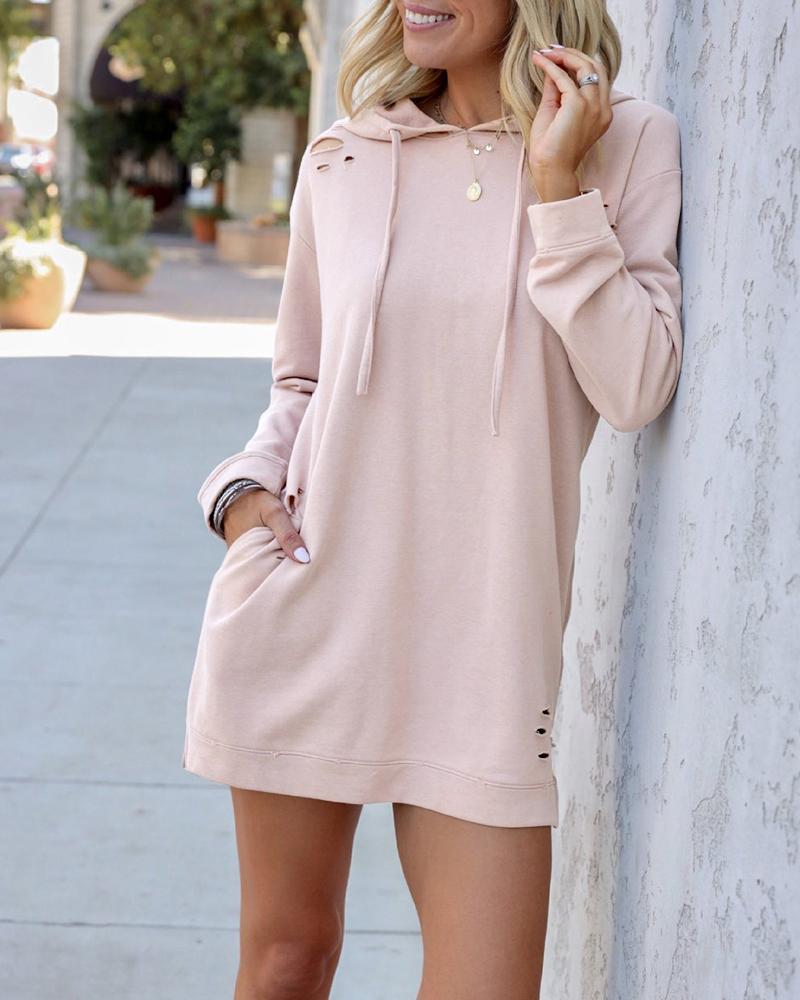 Long Sleeve Pocket Design Cutout Hooded Sweatshirt Dress