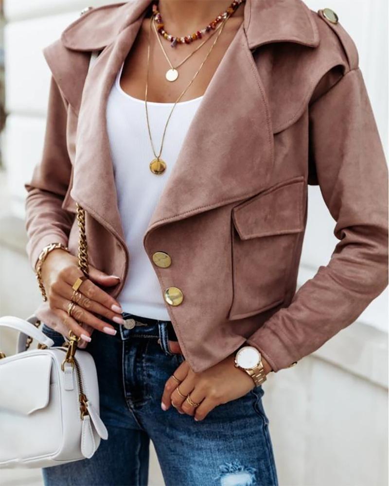 Button Pocket Design Long Sleeve Suede Coat