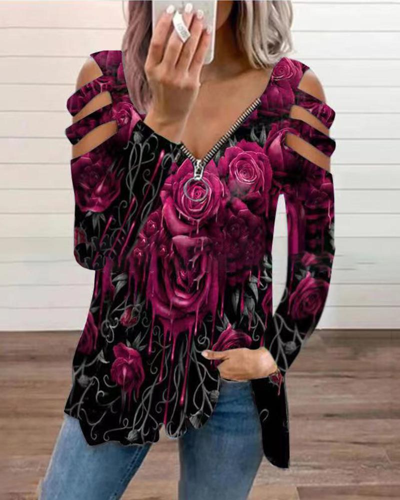 Floral Print Zipper V-Neck Cutout Blouse