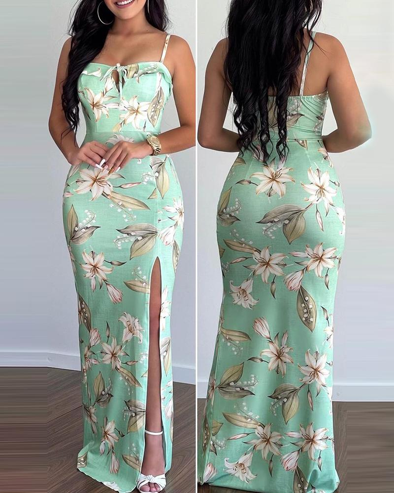 Floral Print Tie Front High Slit Maxi Cami Dress