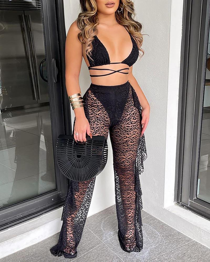 Plain Halter Backless Crisscross Sheer Mesh Cami Bikini Sets