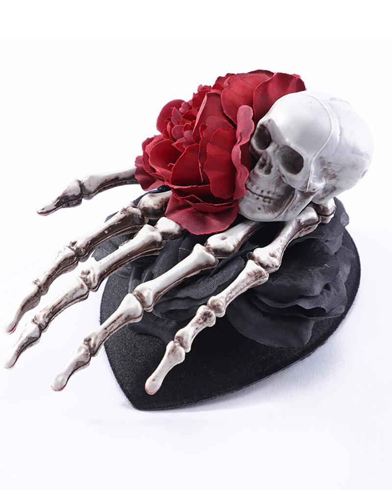 Halloween Floral Skull Horror Hair Clip Skeleton Hands Bone Hair Clips for Halloween Party