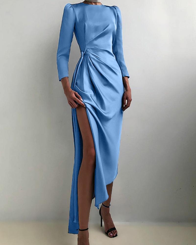 Solid Satin Split Thigh Asymmetrical Bodycon Party Dress