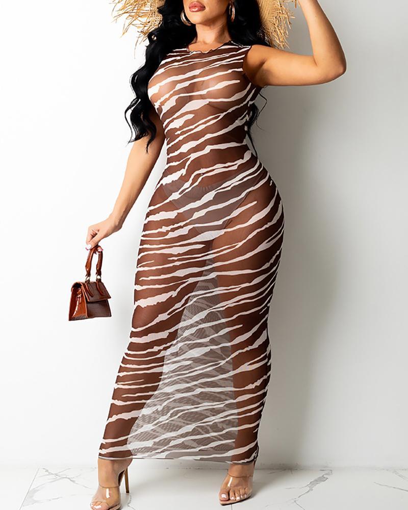 Robe longue moulante à rayures zébrées / colorblock en maille transparente