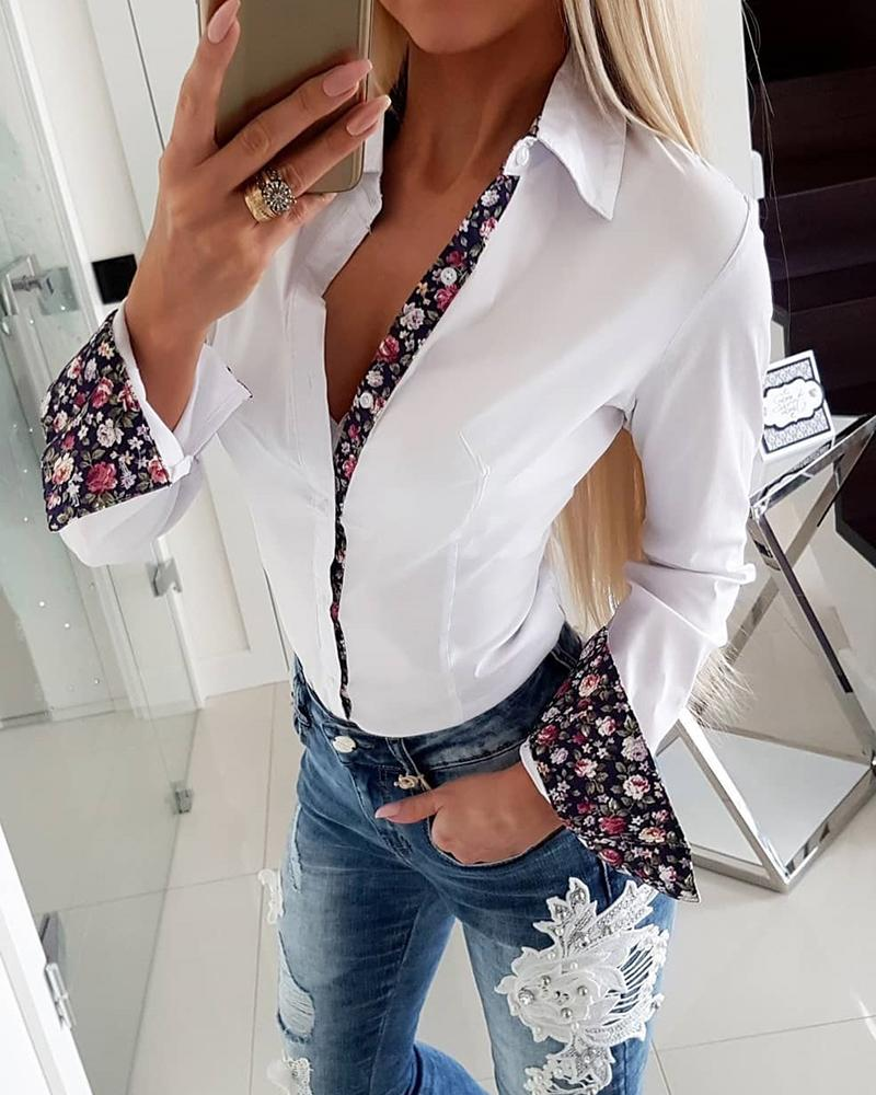 Flower Splicing Long Sleeve Fitting Blouse