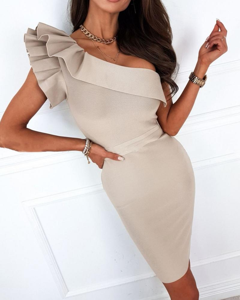 Solid Color Ruffle Hem One Shoulder Short Sleeve Midi Dress