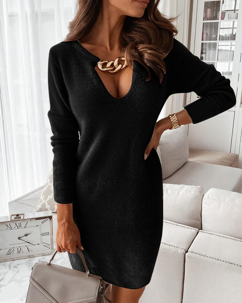 ChicMe coupon: Fluffy Chain Decor Long Sleeve Sweater Dress
