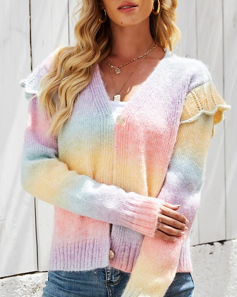 Frill Hem Buttoned Colorblock Long Sleeve Sweater, chicme, pink  - buy with discount