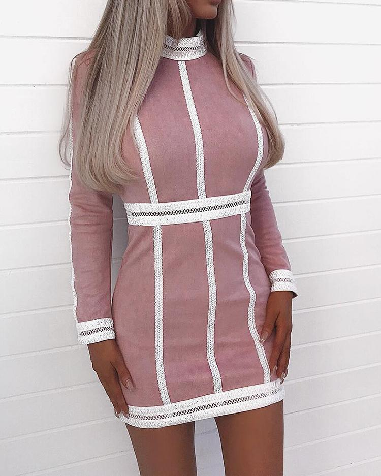 Contrast Hem Hollow Out Bodycon Dress
