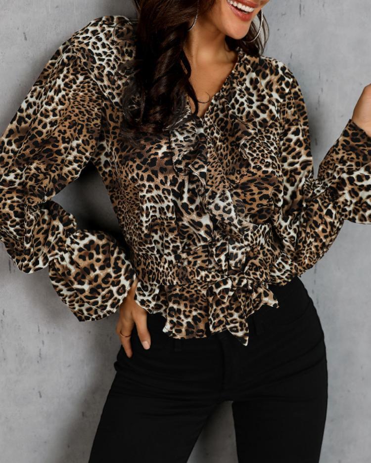Leopard Print Ruffle Detail Blouse