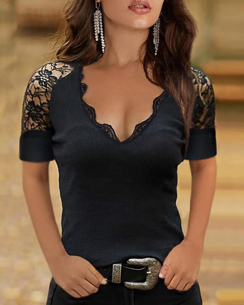 Ivrose coupon: Short Sleeve T-Shirt Lace Patchwork Design See Through V-Neck Solid Top Slim Shirt
