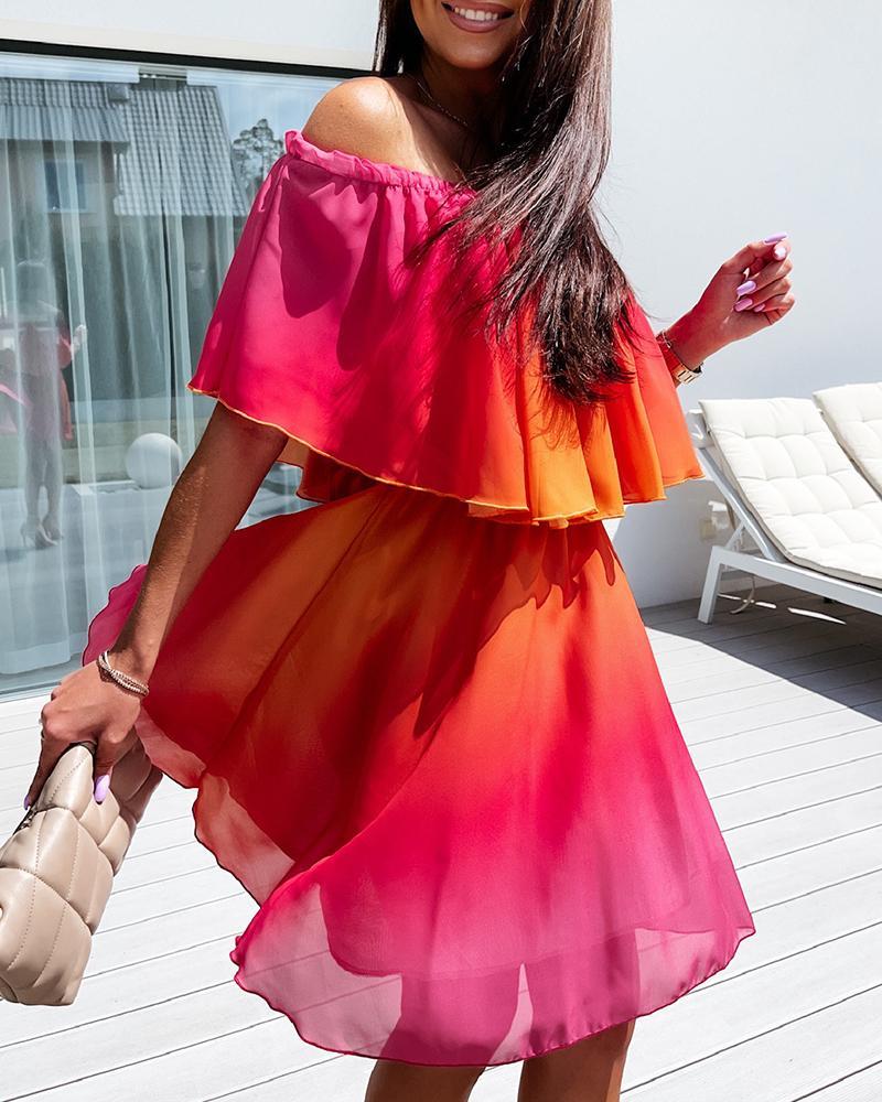 Gradient Short Sleeve Off Shoulder Mini Dress