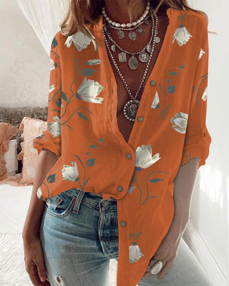 Floral Print Button Front Long Sleeve Shirt