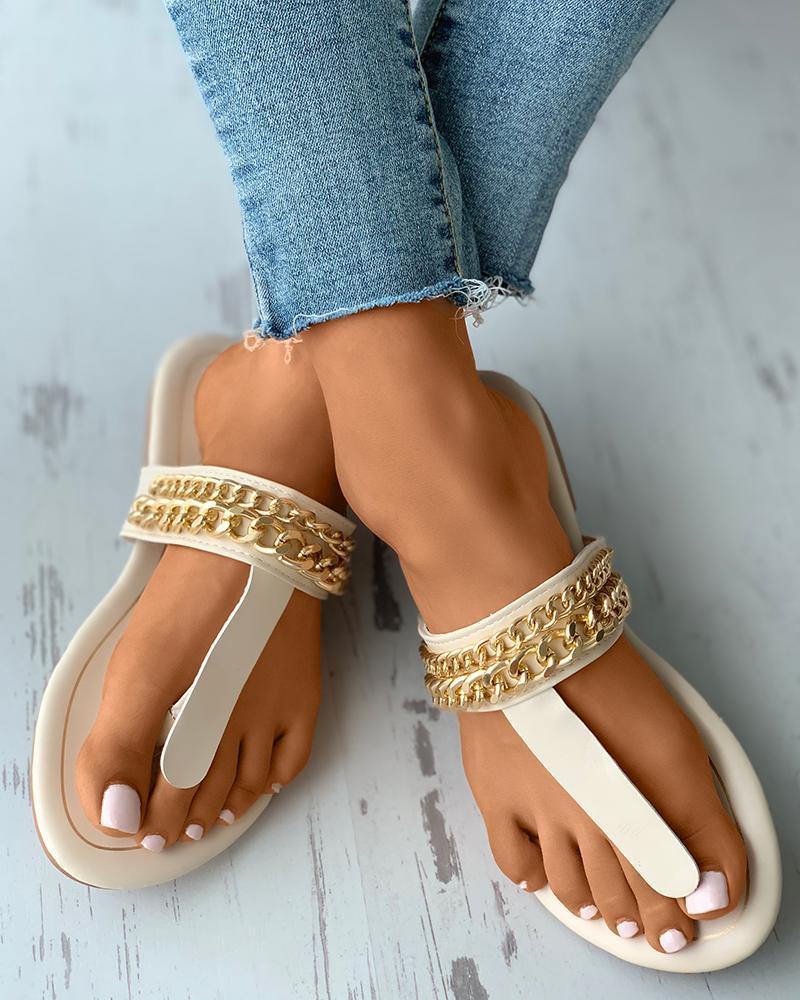 Chain Strap Toe Post Slide Slippers