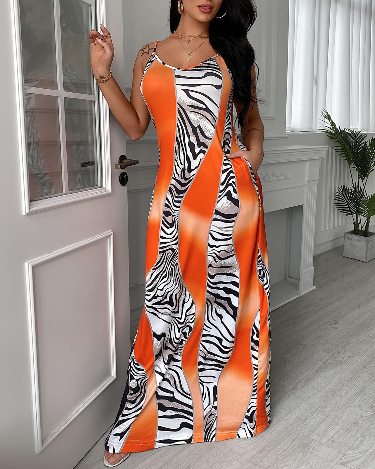 Colorblock Spaghetti Strap Pocket Design Maxi Dress thumbnail