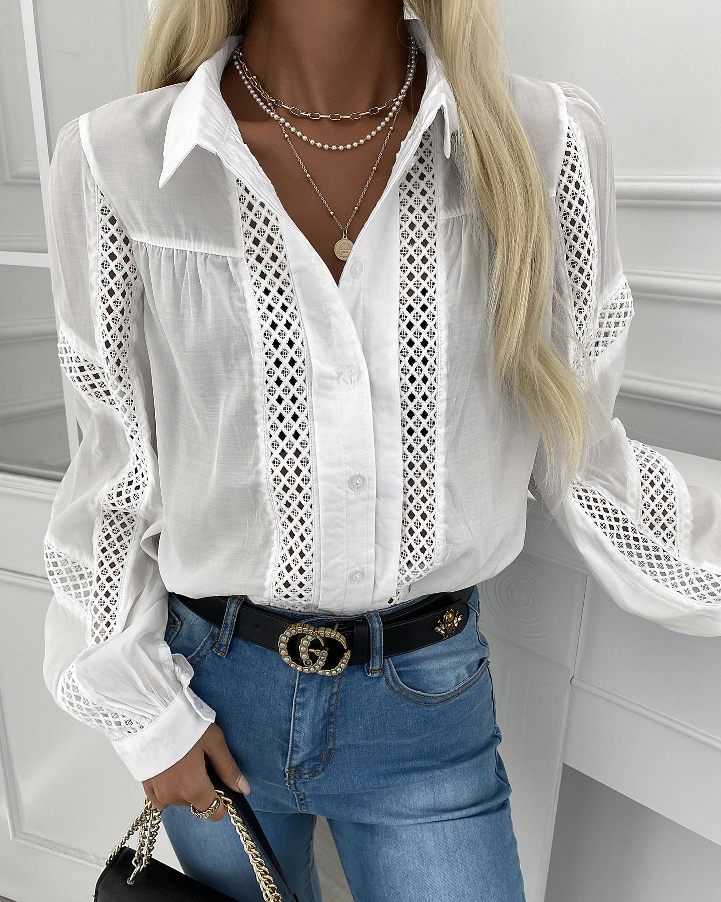 Hollow Out Long Sleeve Casual Shirt