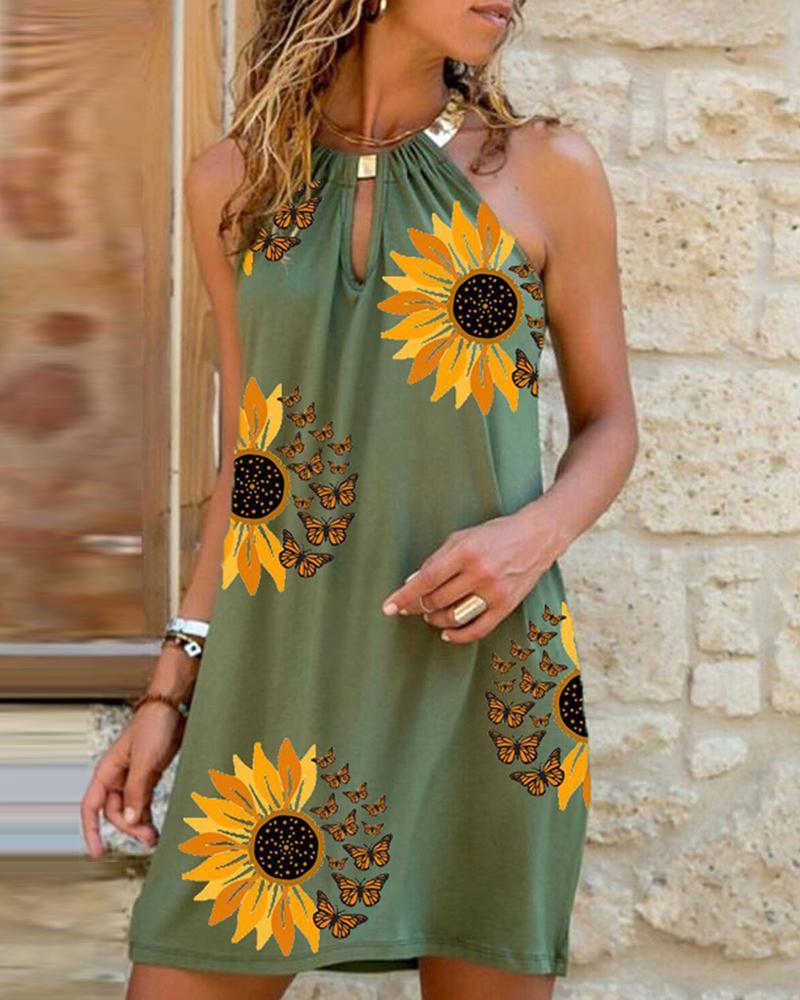 Sunflower Butterfly Print Cutout Sleeveless Casual Dress